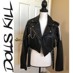 HOTTIE 🔥Pearl leather moto jacket